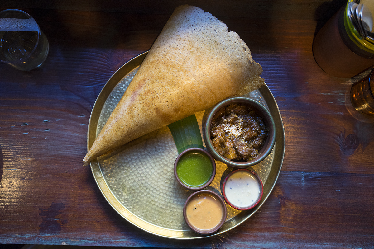 Dosa with chutney and Black Pork Curry