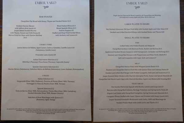 Ember Yard menu