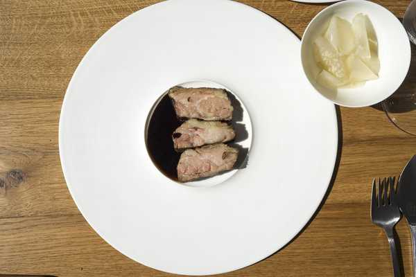 Beef spare rib meat with celeriac