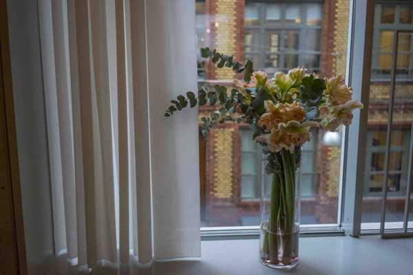 Pretty flowers set the scene