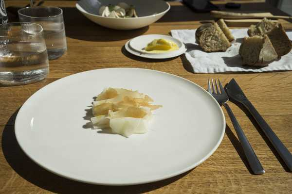 Cured kohlrabi with bitter sauce
