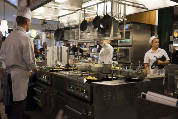One of the many open kitchens around the food floor