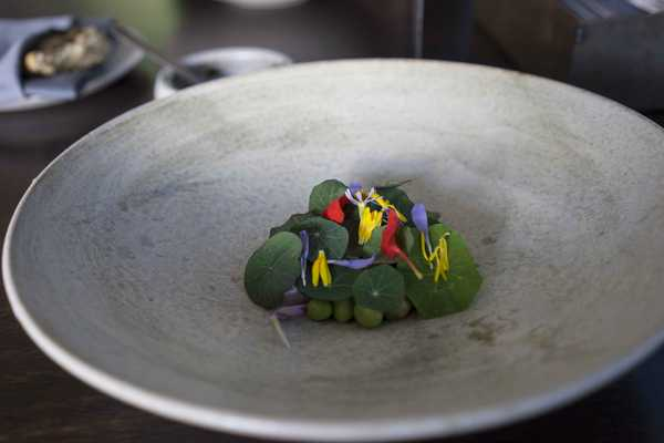 Beans, mackeral with nasturtium leaves and flower petals