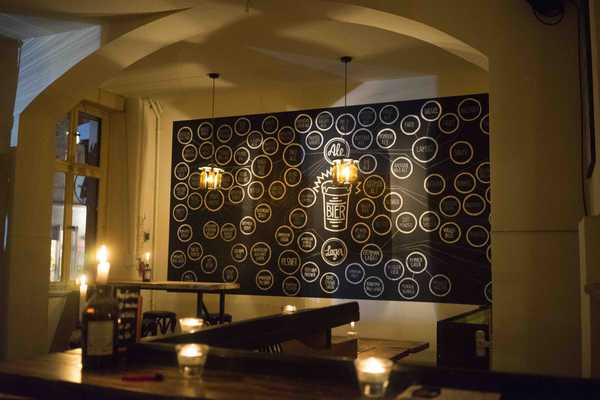 Spacious bar and relaxed vibe, and candles...