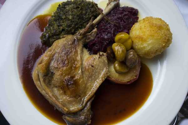 Roast duck leg with red cabbage