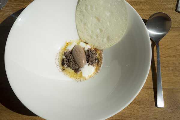 Dandelion milk whey cracker and cream poppy seed ice cream