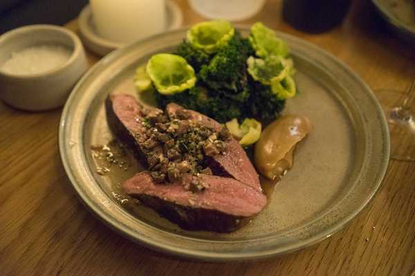 Lamb with heart and mint sauce with roast garlic puree