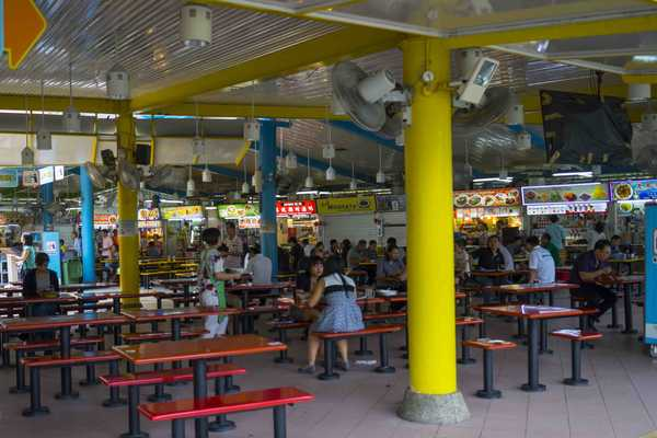Typical hawker centre seating, modern, clean and efficient