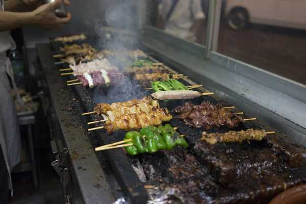 All yakatori are grilled over hot coals