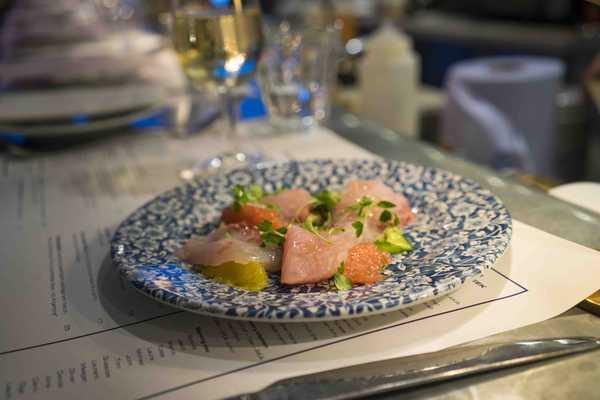 Raw fish and citrus salad