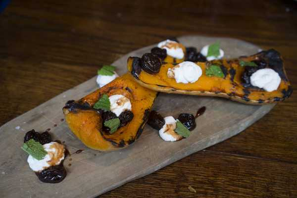 Butternut squash with ricotta, lemon and grape jam