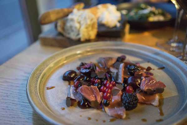 Smoked duck breast, grilled hearts, berries, plum vinegar with red sorrel
