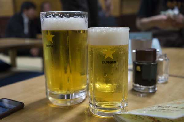 Sapporo beer on draft