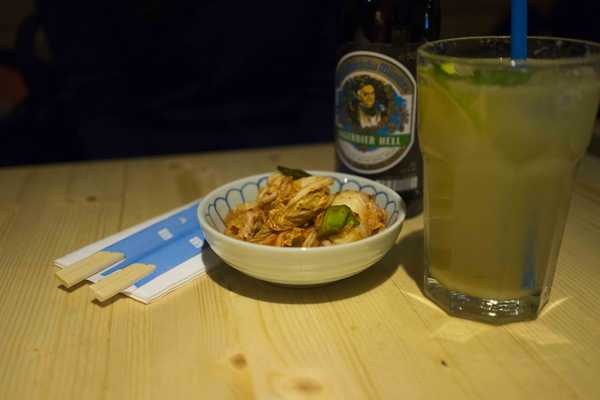 Kimchi with shiso lemonade or if you prefer an Augustiner Hell beer