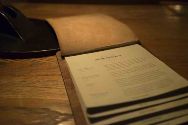 The leather bound menu