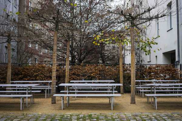 Lunchtime picnic tables