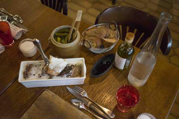 Terrine, bread and gherkins