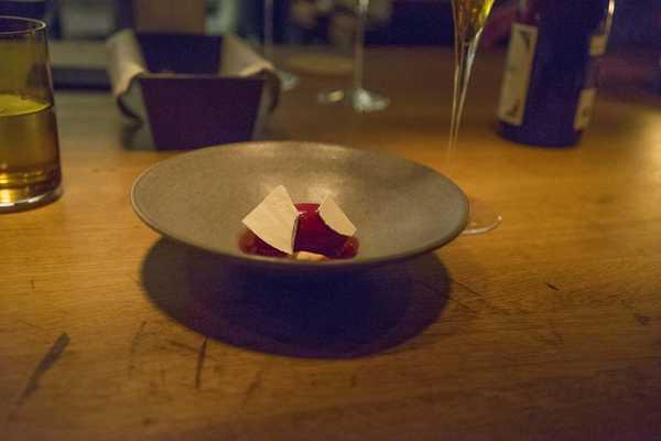 Cornelian cherry, heavy cream and beetroots