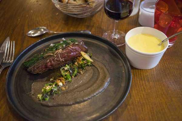 Steak, with onions and creamy mash potato